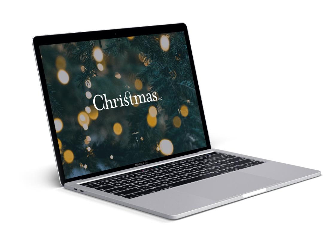 christmas inc homepage design on laptop