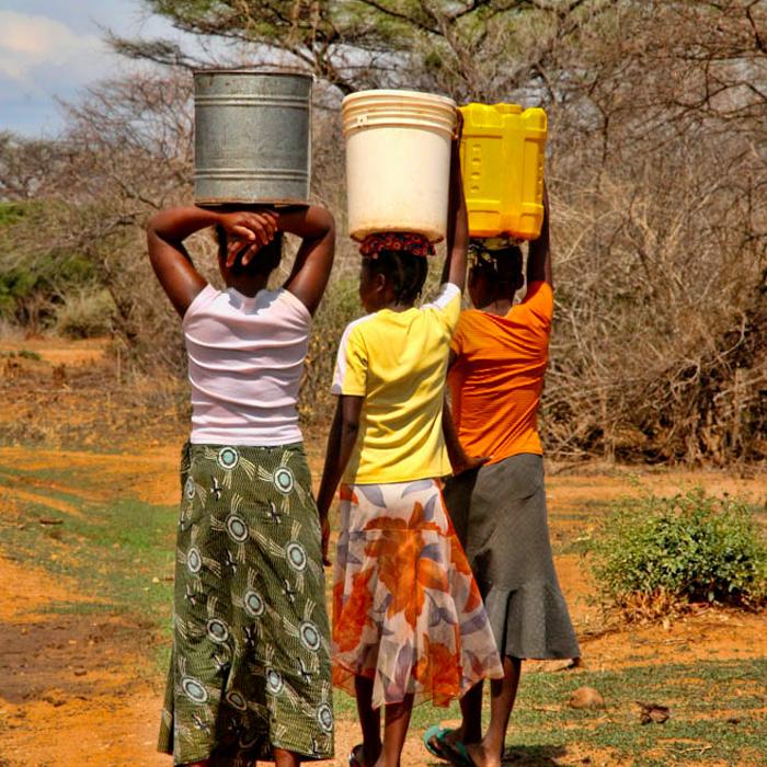 women carrying food load on head