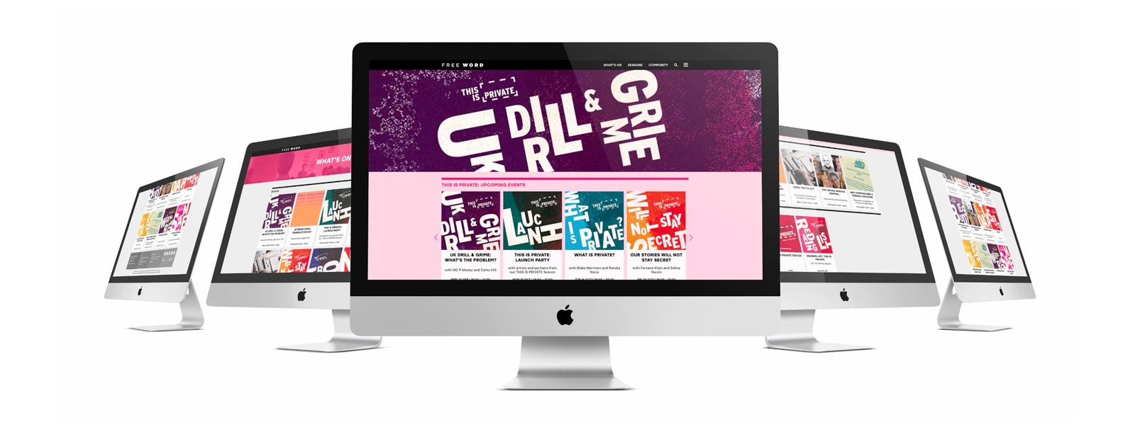 multiple monitors displaying website designs
