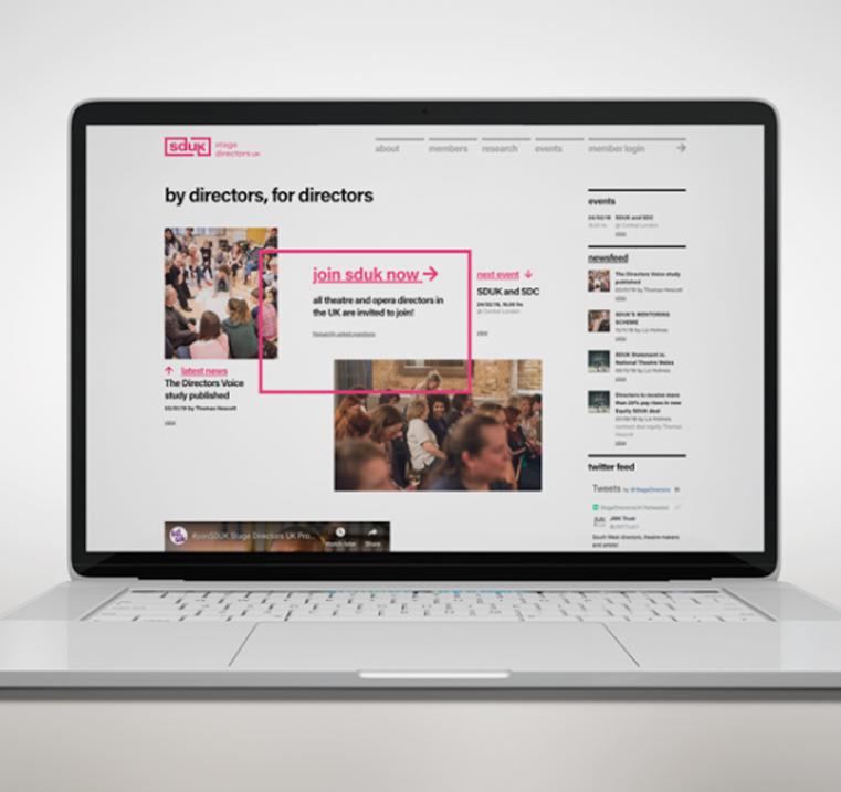 sduk homepage web design on laptop