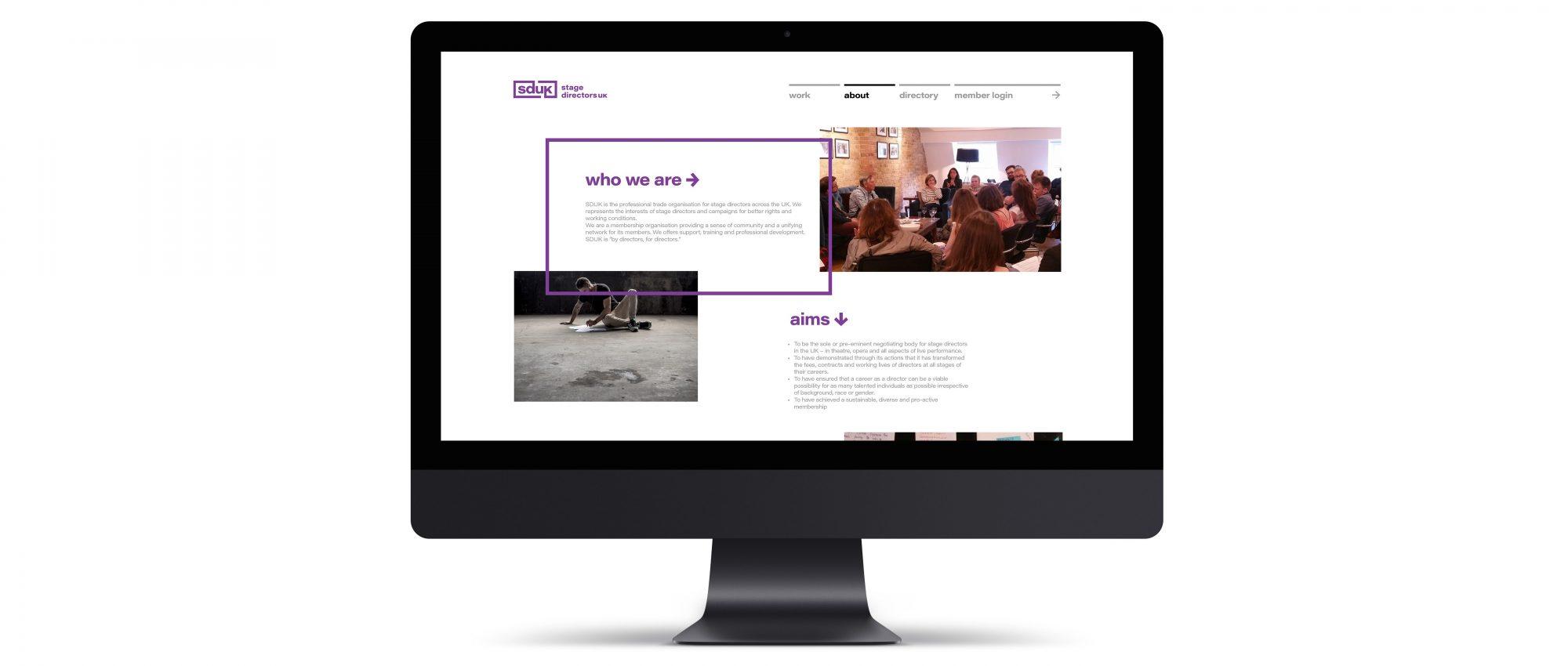 homepage design on desktop monitor