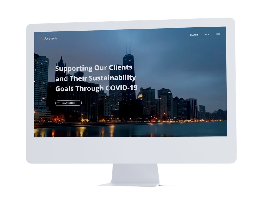 anthesis homepage design on monitor