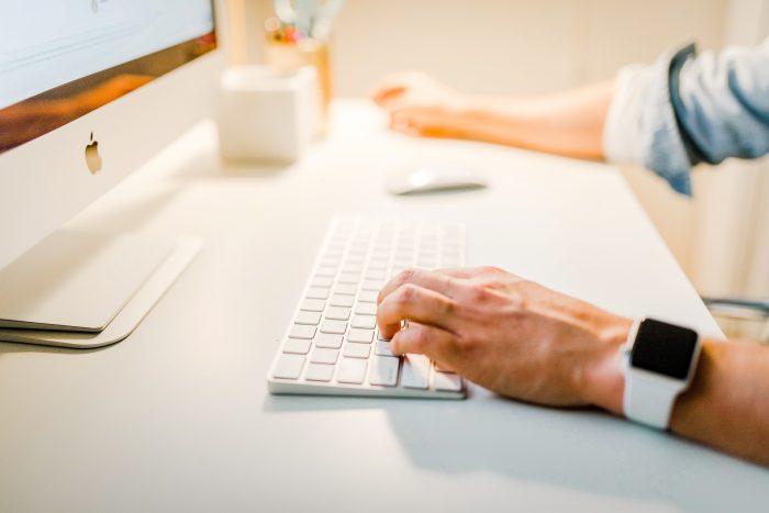 man planning on desktop
