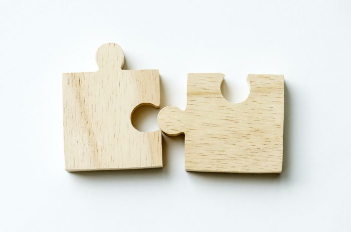 two puzzle piece depicting collaboration