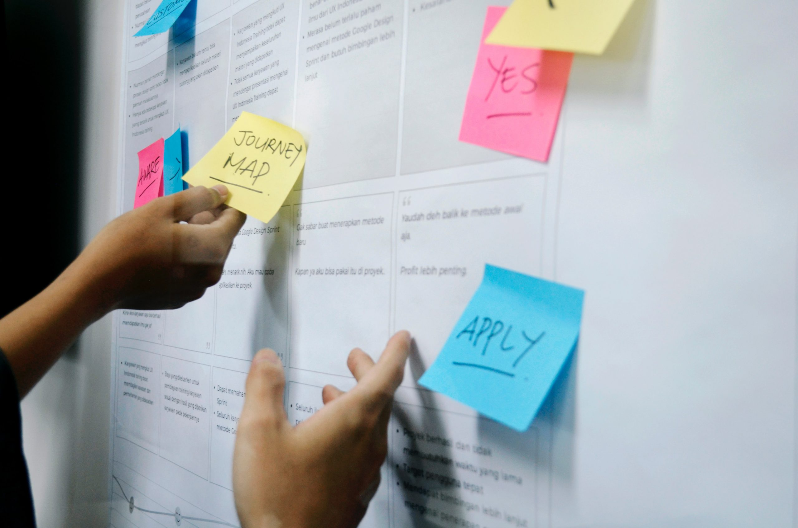 planning with sticky notes on a whiteboard