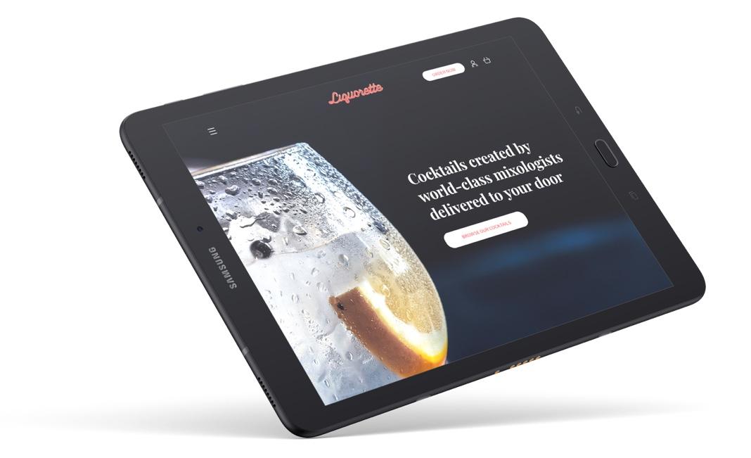 liquorette app homepage design on tablet