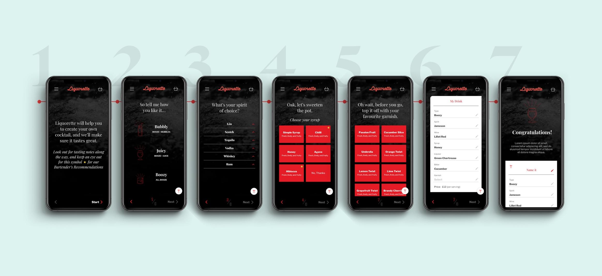 7 UI app designs on smartphone